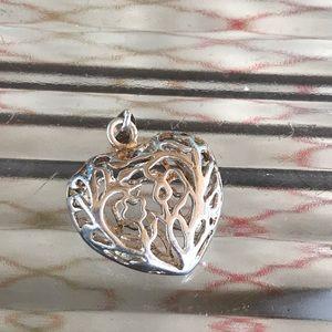 Sterling Heart Pendant Open Work Vines